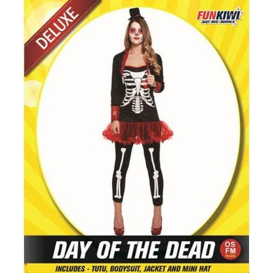 Womens Deluxe Day of the Dead Red Costume - The Base Warehouse