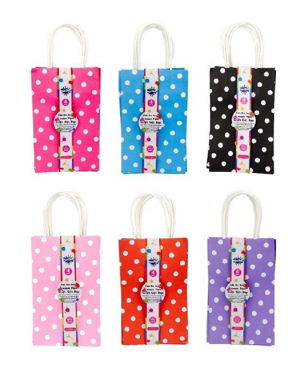 4 Pack Assorted Colours Polka Dot Series Paper Gift Bags