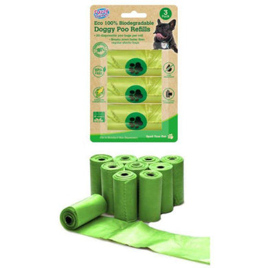 3 Pack 100% Eco Degradable Doggy Poo Bag Refills - 28cm X 31.5cm - The Base Warehouse