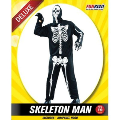 Mens Deluxe Skeleton Man Costume - The Base Warehouse