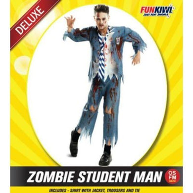 Mens Deluxe Zombie Student Man Costume - The Base Warehouse