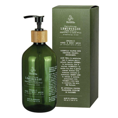 Flourish Organics - Lemongrass, Lemon Myrtle, Grapefruit & Eucalyptus Hand & Body Wash - 500ml - The Base Warehouse