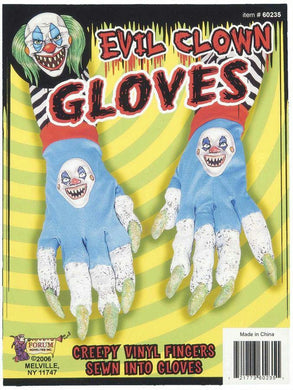Adults Teen Evil Creepy Clown Gloves - The Base Warehouse