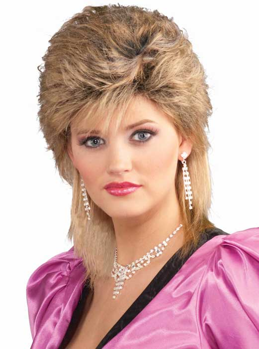 Womens 1980s Salon Blonde Wig