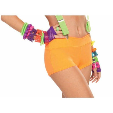 Orange Neon Solid Booty Shorts - The Base Warehouse