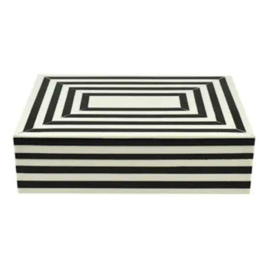 Crowley Resin Black & Ivory Trinket Box - 13cm x 18cm x 5cm - The Base Warehouse