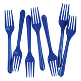 Load image into Gallery viewer, 25 Pack Royal Blue Plastic Forks - 18cm