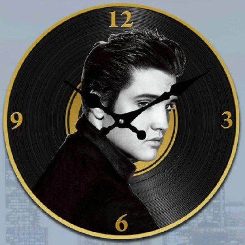 Elvis Presley on Vinyl Record Clock - 30cm
