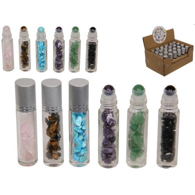 6 Assorted Colours Gemstone Wellness Roller Massager - 8cm - The Base Warehouse