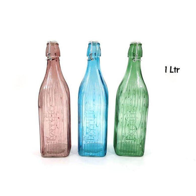 Coloured Glass Water Bottle - 1L - The Base Warehouse