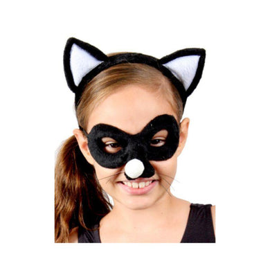 Kids Animal Headband & Mask Set - Black Cat - The Base Warehouse