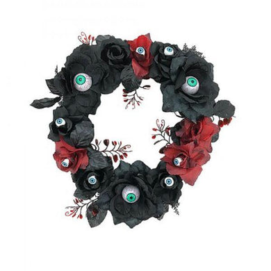 Black And Red Halloween Wreath with Eyeballs - The Base Warehouse