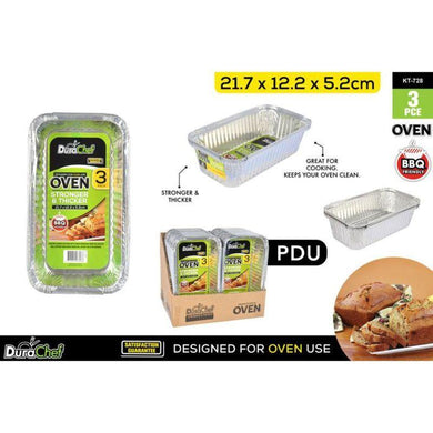 3 Pack Foil Loaf Pans - 21.7cm x 12.2cm x 5.2cm - The Base Warehouse