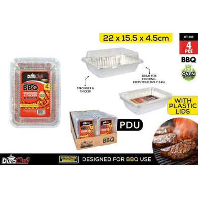 4 Pack Foil Trays with Plastic Lid - 22cm x 15.5cm x 4.5cm - The Base Warehouse