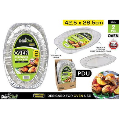 2 Pack Oval Foil Trays - 42.5cm x 28.5cm - The Base Warehouse