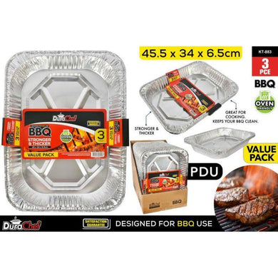 3 Pack Foil Trays - 45cm x 34cm x 6.5cm - The Base Warehouse