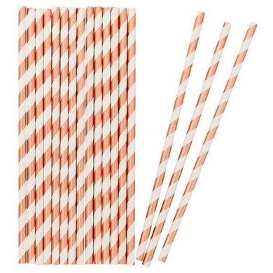 25 Pack Rose Gold Stripe Straws - The Base Warehouse