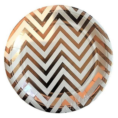 10 Pack Large Rose Gold Chevron Paper Plates - The Base Warehouse