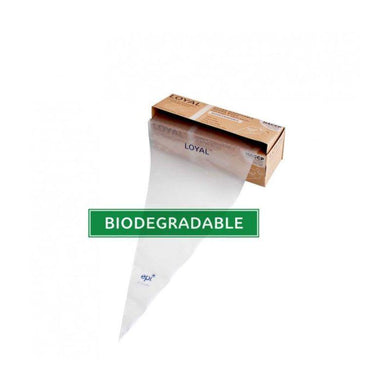 LOYAL 100 Pack Biodegradable Clear Disposable Bags in Box - 46cm - The Base Warehouse