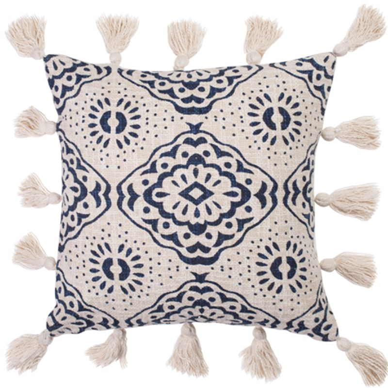 Nila Cotton Slub Embellished Square Cushion with Insert #2- 45cm x 45cm x 10cm
