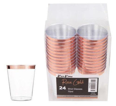 24 Pack Rose Gold Shot Glasses - The Base Warehouse