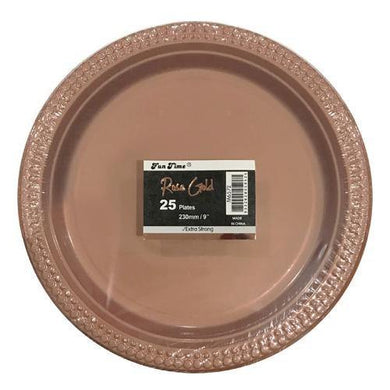 25 Pack Rose Gold Plates - Large - The Base Warehouse