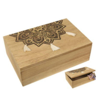Gold Mandala MDF Box with Tassel - 23cm x 15cm - The Base Warehouse