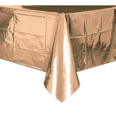 Metallic Soft Rose Gold Tablecover - 137cm x 274cm - The Base Warehouse