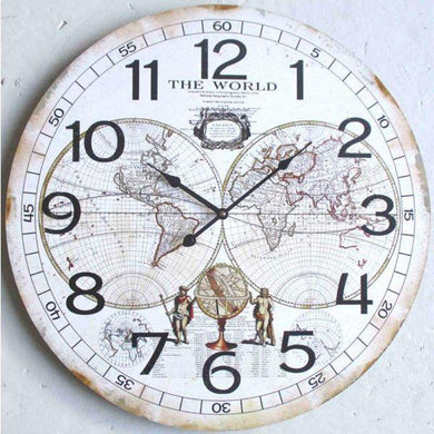 World Map Clock - 60cm - The Base Warehouse