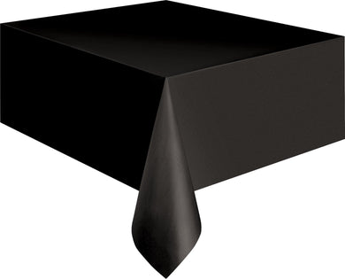 Black Plastic Rectangle Tablecover - 137cm x 274cm - The Base Warehouse