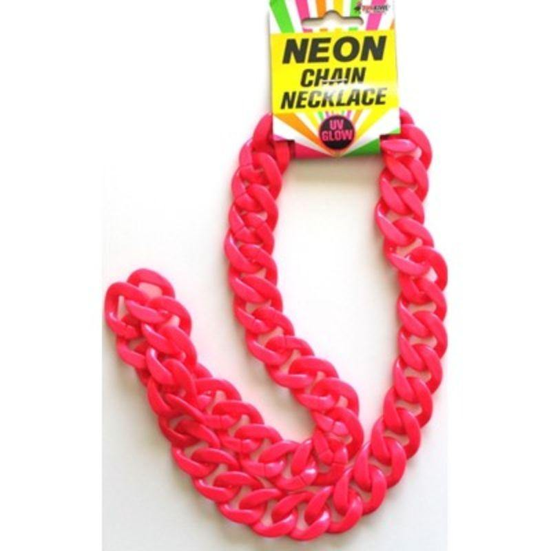 Neon Pink Chain Necklace