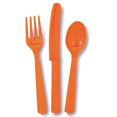 24 Pack Pumpkin Orange Assorted Cutlery - 8 Knives 8 Forks 8 Spoons - The Base Warehouse
