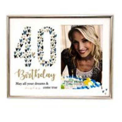 40th Glitter Photo Frame with Glass - 29cm x 15cm - The Base Warehouse
