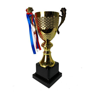 Golden Metal Trophy with Ribbon - 29cm - The Base Warehouse