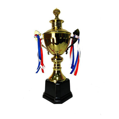 Golden Metal Trophy with Ribbon - 37cm - The Base Warehouse