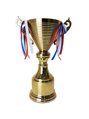 Golden Metal Trophy with Ribbon - 33cm - The Base Warehouse