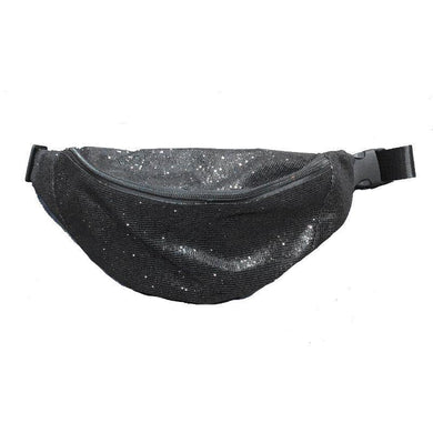 Sequin Black Bum Bag - 32cm x 13cm x 6cm - The Base Warehouse