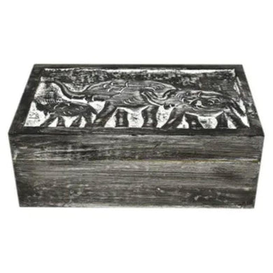 Black Wash Toto Wood Box - 12.5cm x 20cm x 7.5cm - The Base Warehouse