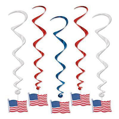 5 Pack American Flag Whirls Decorations - 7.5cm - The Base Warehouse