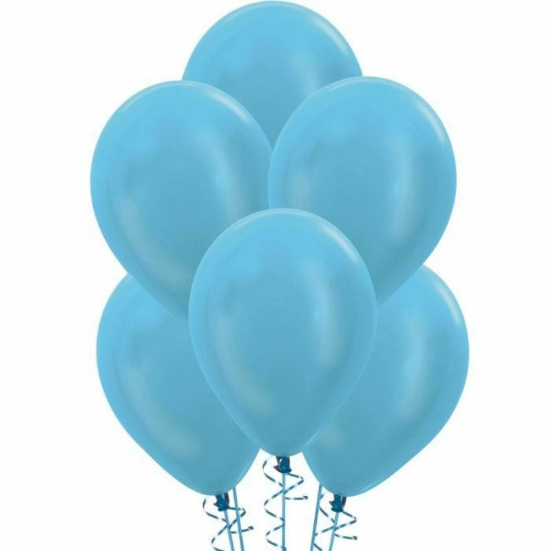 25 Pack Pearl Light Blue Biodegradable Latex Balloons - 30cm