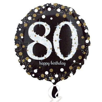 Happy 80th Birthday Sparkling Holographic Foil Balloon - 45cm - The Base Warehouse