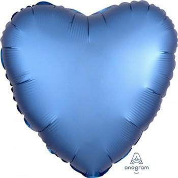 Azure Blue Satin Heart Foil Balloon - 45cm - The Base Warehouse