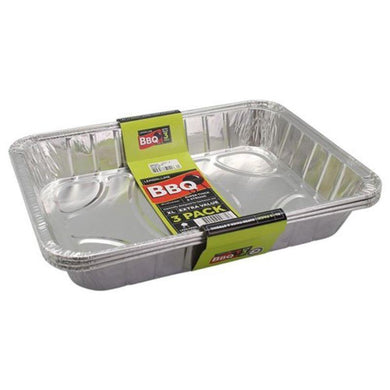 3 Pack Large Foil Tray - 46cm x 34cm x 6.5cm - The Base Warehouse