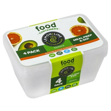 4 Pack Rectangle Disposable Food Container - 1L - The Base Warehouse