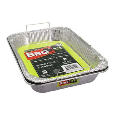 Foil Tray with Wire Handles - 46cm x 34cm x 6.5cm - The Base Warehouse