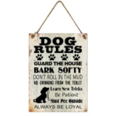 Dog Rules MDF Wall Hanging - 30cm x 40cm - The Base Warehouse