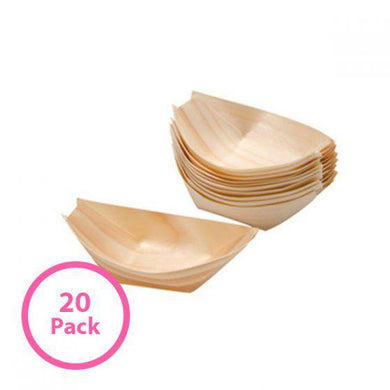 20 Pack Bamboo Boat Food Tray - 22cm x 12cm - The Base Warehouse