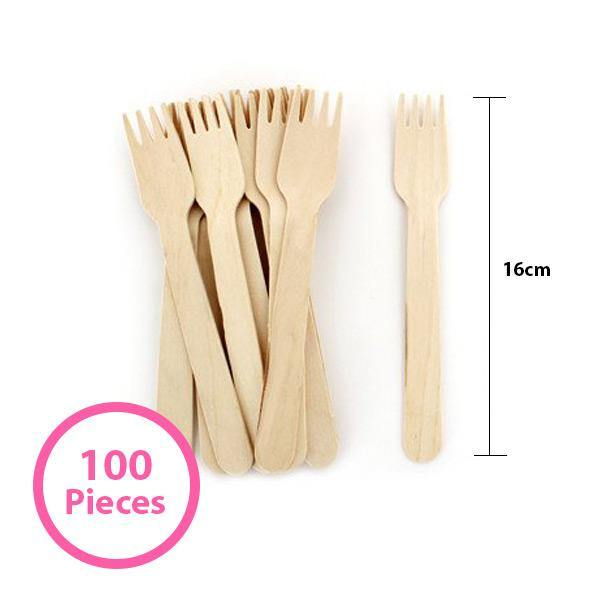 100 Pack Wooden Forks - 16cm - The Base Warehouse