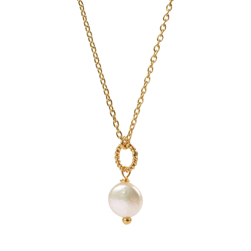 Alexis Coin Pearl Pendant - Mirabelle Jewellery