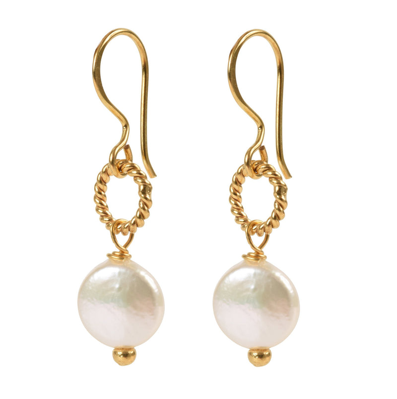 Alexis Coin Pearl Earrings - Mirabelle Jewellery